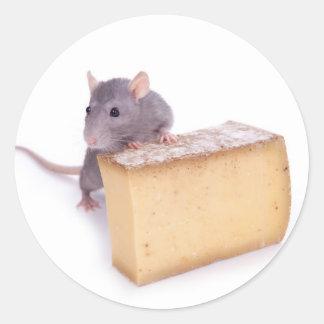 rat with cheese round sticker