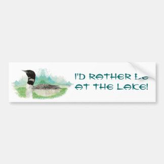 Rather be at the Lake with Watercolor Loon Bumper Sticker
