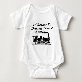 Rather be driving trains baby bodysuit