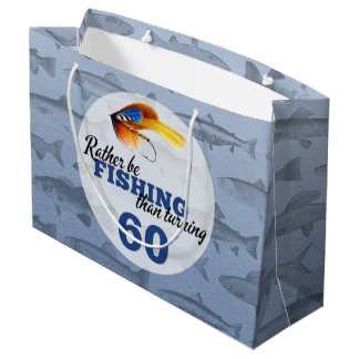 Rather Be Fishing Custom Birthday Party Large Gift Bag