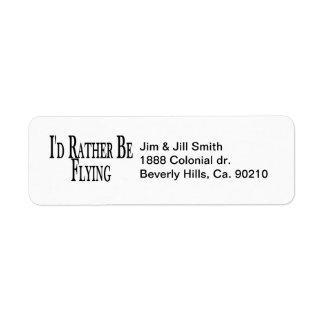 Rather Be Flying Return Address Label
