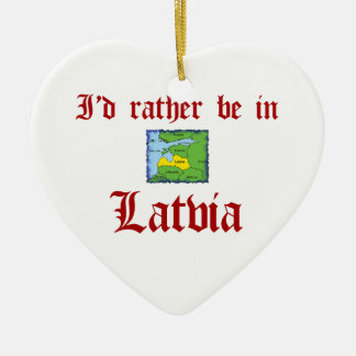 Rather be in Latvia Ceramic Heart Ornament