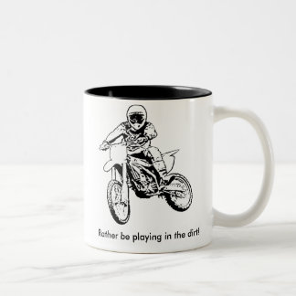 Rather Be Playing In The Dirt (Black/White) Two-Tone Coffee Mug