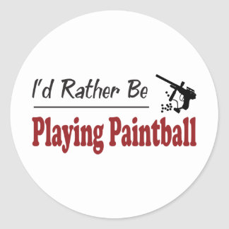 Rather Be Playing Paintball Classic Round Sticker