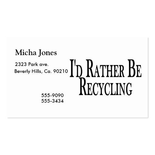 Rather Be Recycling Business Card Template