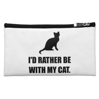 Rather Be With My Cat Cosmetic Bag