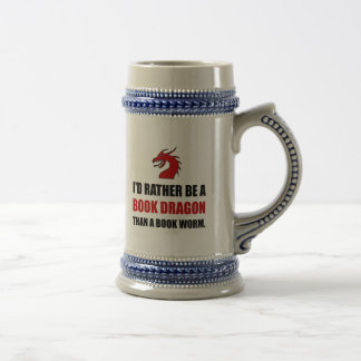 Rather Book Dragon Than Worm Beer Stein
