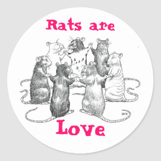 Rats are Love Classic Round Sticker