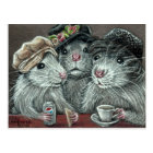 Rats in Hats Eating Lunch Postcard