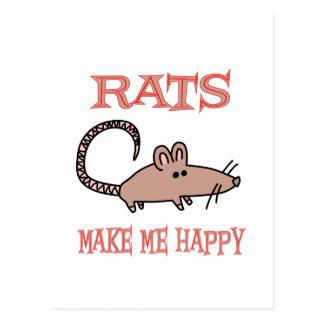 Rats Make Me Happy Postcard