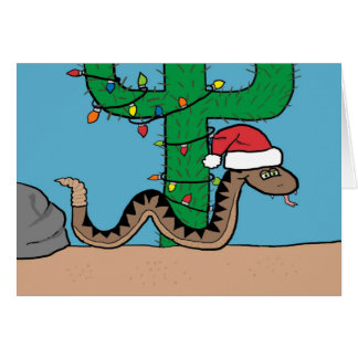 Rattle Snake Cactus Christmas Tree Greeting Card