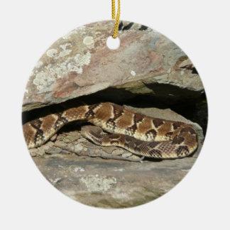 Rattlesnake at Shenandoah National Park Round Ceramic Ornament