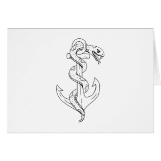 Rattlesnake Coiling on Anchor Drawing Card