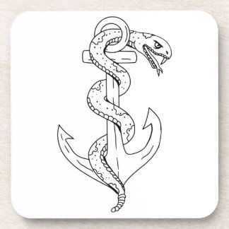 Rattlesnake Coiling on Anchor Drawing Coaster