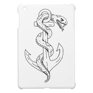 Rattlesnake Coiling on Anchor Drawing iPad Mini Cover