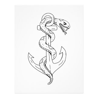 Rattlesnake Coiling on Anchor Drawing Letterhead