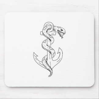 Rattlesnake Coiling on Anchor Drawing Mouse Pad