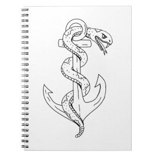 Rattlesnake Coiling on Anchor Drawing Notebook