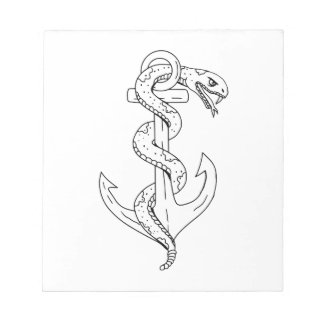 Rattlesnake Coiling on Anchor Drawing Notepad