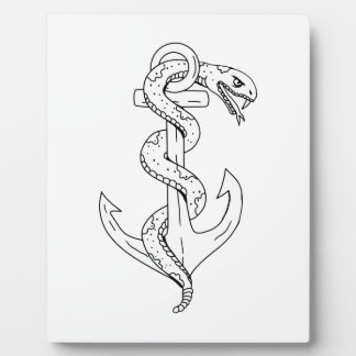 Rattlesnake Coiling on Anchor Drawing Plaque