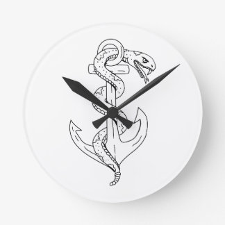 Rattlesnake Coiling on Anchor Drawing Round Clock