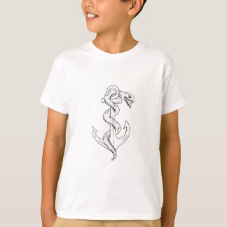 Rattlesnake Coiling on Anchor Drawing T-Shirt