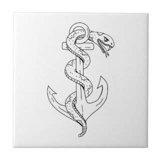 Rattlesnake Coiling on Anchor Drawing Tile