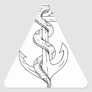 Rattlesnake Coiling on Anchor Drawing Triangle Sticker
