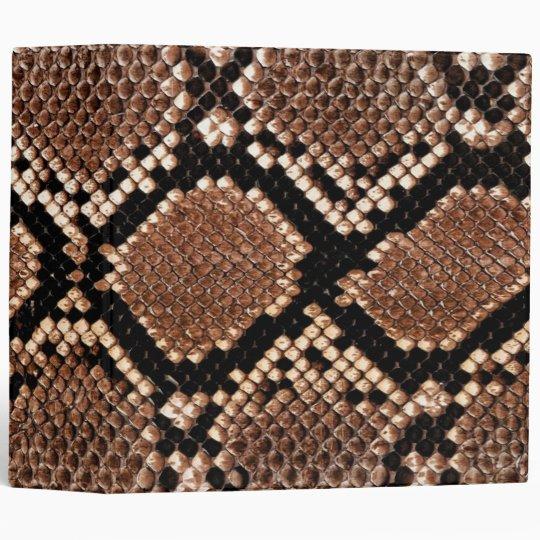 Rattlesnake Snake Skin Leather Faux Binder