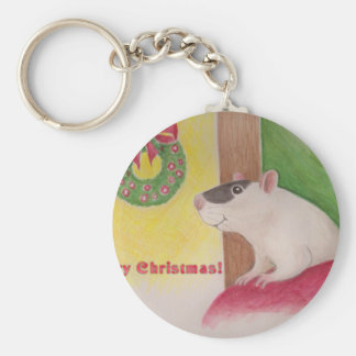 Ratty Christmas Basic Round Button Keychain