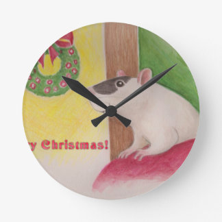 Ratty Christmas Round Clock