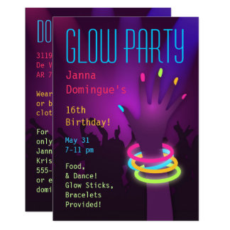Rave Glow in the Dark Party Invitations