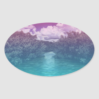 Rave Lovers Key Trippy Pink Blue Ocean Oval Sticker