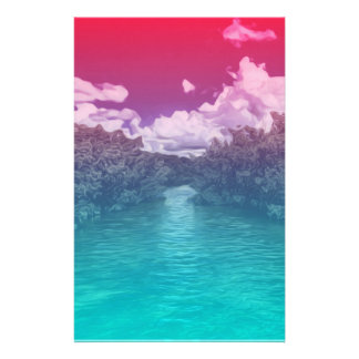 Rave Lovers Key Trippy Pink Blue Ocean Stationery
