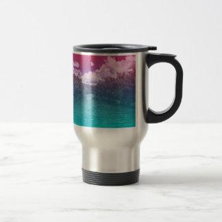 Rave Lovers Key Trippy Pink Blue Ocean Travel Mug