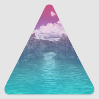 Rave Lovers Key Trippy Pink Blue Ocean Triangle Sticker