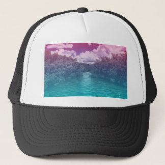Rave Lovers Key Trippy Pink Blue Ocean Trucker Hat