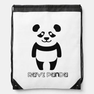 Rave Panda Drawstring Bag