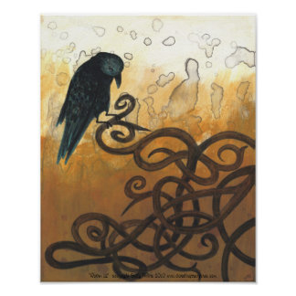 Raven 12 Celtic knots nature painting poster