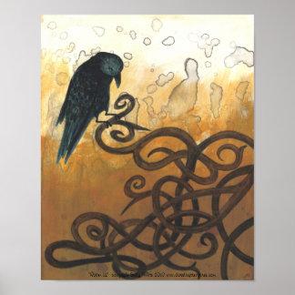 Raven 12 Celtic knots nature painting poster