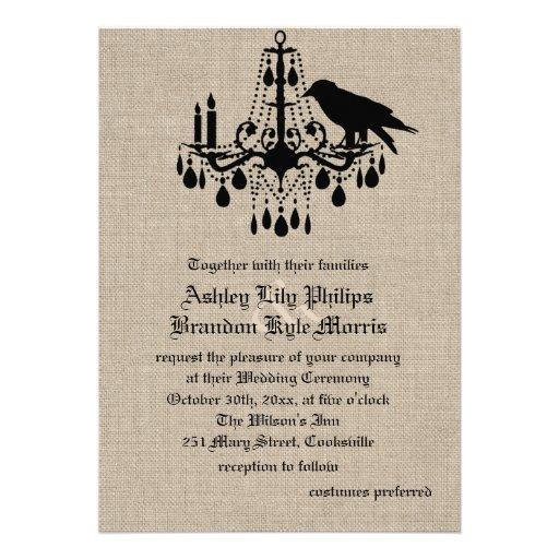 Raven and Damask on Burlap Wedding Invitation