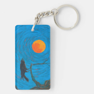 Raven and Full Moon Keychain