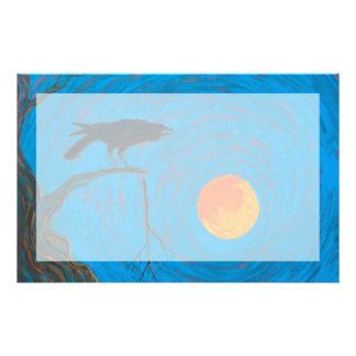 Raven and Full Moon Stationery