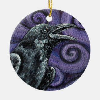Raven and Purple Swirls Ornament