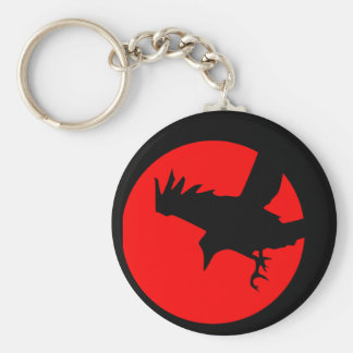 Raven and red sun keychain