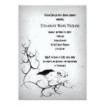 "Raven and skull Gothic wedding bridal shower 5"" X 7"" Invitation Card"
