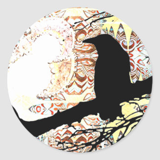 Raven and the Moons Classic Round Sticker