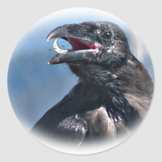 Raven Ate the Moon Young Raven Gifts Classic Round Sticker
