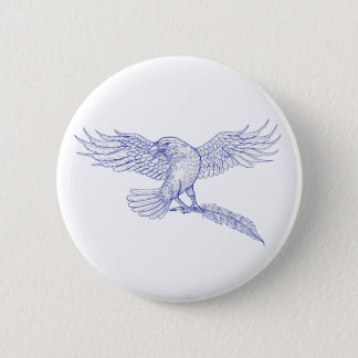 Raven Carrying Quill Drawing 2 Inch Round Button