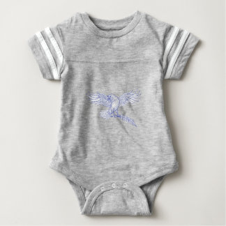 Raven Carrying Quill Drawing Baby Bodysuit